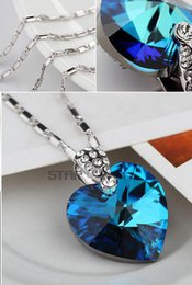 Wholesale Sapphire Sea Crystal - Korean version of Korean jewelry in the heart of the sea pendant pendant crystal 925 sterling silver necklace blue crystal elegant and gener