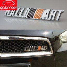 Wholesale Car Sticker For Mitsubishi - Car Styling 3D Metal RALLIART Front Grille Emblem Badge Decal Auto Stickers For Mitsubishi Asx Lancer Outlander Pajero