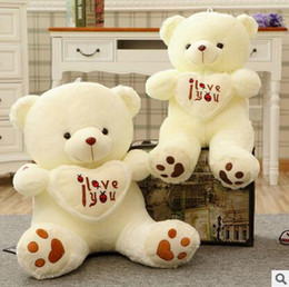 Wholesale Giant Teddy Bear For Free - Free Shipping 2017 Beige White Giant Big Plush Teddy Bear Soft Gift for Valentine Day Birthday 50 70 90cm