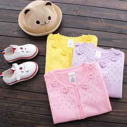 Wholesale Pink Pearl Sweaters - Girls clothing Sweet Cardigan Sweaters for girl Hollow out Bow Flowers Pearl Cotton Knitwear 2017 Autumn Pink yellow Purple