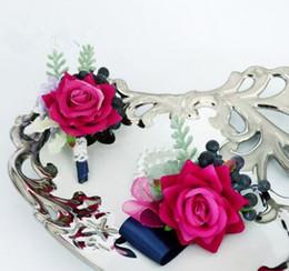 Wholesale Wrist Corsage Accessories - high quailty rose corsage flower artificial flower corsage hand wrist flower bride accessories bride groom decoration