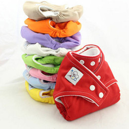 Wholesale Diapers Can - 100% Cotton Adjustable Washable Baby Cloth Diapers Reusable Baby Cloth Nappy 9 Color Can Choose NO Diaper Inserts
