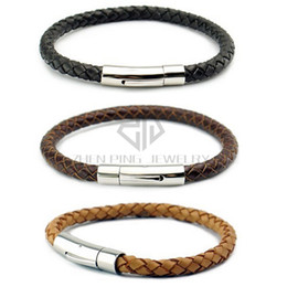 Wholesale Chain Bracelets Braided Cords - New Genuine Leather Mens Bracelet Bangle Braided Cord with Durable 316L Stainless Steel 6mm leather bracelet Magnetic Clasp