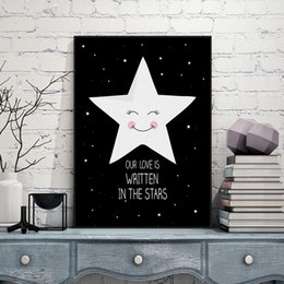 Wholesale Kawaii Wall - print poster Modern Black Kawaii Star Quotes Art Print Poster A4 Wall Picture Nordic Baby Cute Kids Room Decor Canvas Painting No
