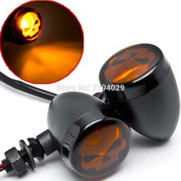 Wholesale Motorcycle Skull Turn Signal Lights - Motorcycle Skull Turn Signals Skeleton Turning Light Fits For Harley Davidson XL 883 1200 Touring Bobber Chopper Shadow Curiser