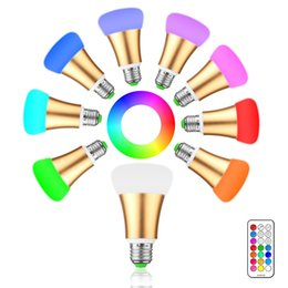 Wholesale E27 12 - Brightness 10W RGB E27 LED Bulb Light Stage Lamp 12 Colors with Remote Control Led Lights for Home AC 85-265V RGB + Cool White