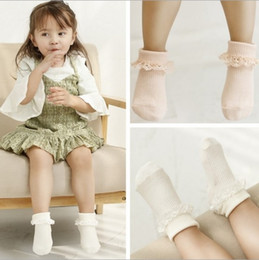 Wholesale korean toddler girl dresses - Korean Style Hot Sell Kids Lace Socks Baby Girls Sweet Dress Princess Pretty Soft Lace Cotton Stockings Good Match Socks For Toddler Q0896