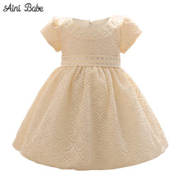 Wholesale Wholesale For Bridesmaid Dresses - Wholesale- New Arrival Toddler Girl Dress Kids Clothes Lace Christening Gown For Junior Bridesmaid Wedding Party Gown Dress Baby Clothing