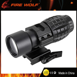 Wholesale Picatinny Side Mount - FIRE WOLF Tactical Red Dot Sight Scope 3x Magnifier Fits Dot Sight With Tactical 30mm Flip to Side 90 Degree Weaver Picatinny Mount Ring