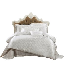 Wholesale Luxury Jacquard Bedding Silk - Wholesale-Papa&Mima Jacquard bedding set silk cotton Queen King size 4pcs duvet quilt bedlinen covers bedclothes luxury bedsheet set