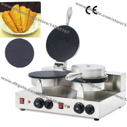 Wholesale Waffle Cones - Free Shipping Commercial Use Nonstick 110v 220v Electric Dual Ice Cream Cone Waffle Maker Iron Baker Machine