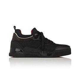 мужские кроссовки Скидка 2017 новый черный Aurelien плоские кроссовки мужские кроссовки Красное дно обувь мужчины двойной цвет заклепки низкое качество Оптовая
