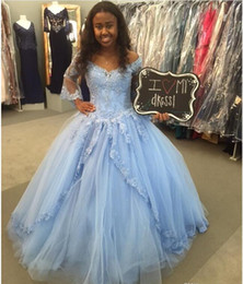 Wholesale Over Shoulder Floor Length - Quinceanera Dresses Lace Appliques With Beading Over The Ball Tulle Gown Speaker sleeves Special Occasion Dresses