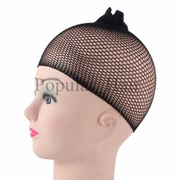 Wholesale Fishnet Hair - Large Stocking 20Pcs Lot Stretchable Elastic Fishnet Weave Cap For Making A Wig Black Colors Mesh Hair Net Wig Caps For Weaving wig caps