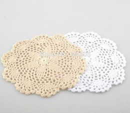 Copo de doily on-line-Atacado- 10pcs / lot 20cm feitas à mão Crochet Doily cup mat pad copo MA17648709