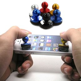 Wholesale iphone touch stick - Wholesale- New Hot 2Pcs Small Size Stick Game Joystick Joypad For iPhone for Pad Touch Screen Mobile phone Mini Rocker