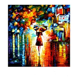 Wholesale Raining Wall Painting - Framed Girl under Umbrella in the Rain,Amazing High Quality genuine Hand Painted Modern Wall Decor Art Oil Painting Canvas,Multi sizes DHAs