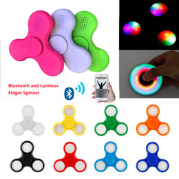 Wholesale Music Cube Toy - Newest Led fidget Cube Spinner Bluetooth Music Finger HandSpinner EDC Hand Tri Spinner HandSpinner EDC Plastic Toy For Decompression