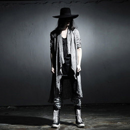 Wholesale Long Sweater Trench Coat - Wholesale- Mens Long Sleeve Linen Shawl Cardigan,Males Pull Style Punk Trench Cardigan Clothings Fashion Sweater Men Outerwear Coats