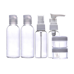 Wholesale Plastic Travel Jars - 6pcs Makeup Spray Bottle Lotion Case Empty Container Bottles Travel Set Kit New Empty Makeup Jars Transparante Parfum Spray
