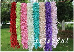 Wholesale Wholesale Rattan Wreaths - Artificial Orchid Wisteria Vine Flower 2 Meter Long Silk Wreaths For Wedding Backdrop Decoration Shooting Props wa3739