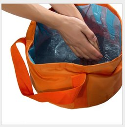 Wholesale Sinks Bowls - New Arrival 15L Portable Outdoor Travel Foldable Camping Wash Basin Bucket Bowl Sink Washing Bag Water bucket Storage Basket
