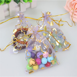 Wholesale Coffee Organza Bags - Wholesale-2016 Hot Sale Light Purple100pcs lot 9x12cm Bronzing Organza Bags With Gold Heart Gift Sack Cheaper Samll Coffee Beans Bags