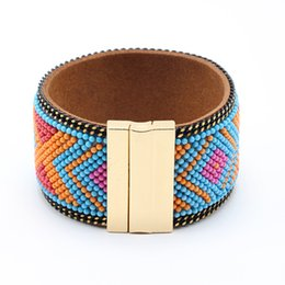 2019 бразильские украшения Wholesale- Bohemian Beads Wide Leather Bracelet Magnetic Buckle Bracelet Women Wrap Charm Boho Brazilian Bracelets Bangles Men Jewelry дешево бразильские украшения