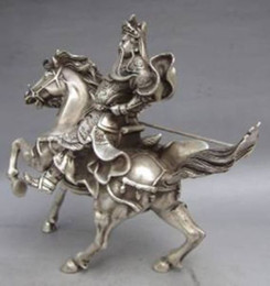 Wholesale Silver Horse Statue - Chinese Collectable Tibet Silver Warrior God Guan Yu & Horse Statue