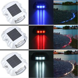 Wholesale Stainless Deck Light - Solar Powered 6LED Road Stud Driveway Pathway Stair Deck Dock Lights Studs marker Pathway light 6LED White Red Blue Yellow