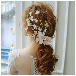 Wholesale flowers for clips - Fashion Romantic Wedding Hair Accessories Lace Flowers Pearl Beads Alligator Hairpin Hair Clip For Women Girls Bridal