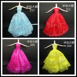 Wholesale Wool Western Skirt - Beautiful Bobbi doll big skirt dress dress dress Princess Doll 30CM blue yellow skirt