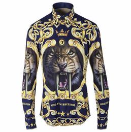 Wholesale Tiger Print Long Shirts Design - Wholesale- Camisa Camisas Cool Shirt Men Luxury Brand Printed 2016 Original Tiger Royal Wind Design 3d Digital Printing Popular Logo Men's