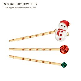Wholesale Rose Gold Clip Charm - Christmas Rhinestone Snowman Claus Hairwear for Women Rose Gold Plated Jewelry Charm 2017 Fashion Party Gift XMAS W1 Neoglory