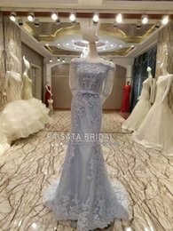 Wholesale Square Brooch - Custom Made 2017 Spring Summer Elegant Mermaid Gray Prom Dresses Real Lace Appliques Sequins Beads Women Silver Formal Evening Party Gowns