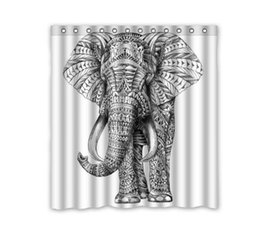 Wholesale White Polyester Shower Curtain - Customs 36 48 60 66 72 80 (W) x 72 (H) Inch Shower Curtain Pen Drawing Black And White Elephant Waterproof Polyester Fabric Shower Curtain