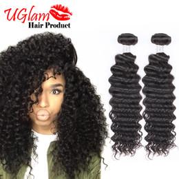 Wholesale 16 Inch Deep Wave Hair - Sexy Formula Malaysian Curly Hair 3pcs Lot Uglam Hair Deep Wave bundles Free Shipping 100% Human Hair extension Top Quality Malibu DollFace