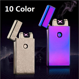 Wholesale Electronic Cigarette Alloy Case - New Arrivals Cross Double Arc Lighter Case USB Pulse Windproof Lighters Electronic Metal Men Cigarette lighter Including retail packaging