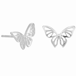 Wholesale Hollow Butterfly Charms - 5 pairs lot Hollow Butterfly 925 Sterling Silver Stud Earring for Wedding Jewelry Luxury Women Lovely Cute Lady Girl Silver Earring