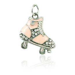 Wholesale Skating Pendants - Fashion Floating Charms Rhinestone Light Yellow Enamel Skating Shoes Children Pendants DIY Charms For Jewelry Making Accessories