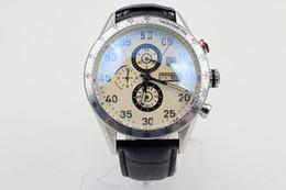 Wholesale Mens Steel Leather Bracelets - luxury brand watches men calibre 16 white & black dial leather belt original bracelet watch quartz chronograph watch mens dress watches