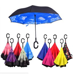 Wholesale Design Inside - Inverted Umbrella Double Layer Reverse Rainy Sunny Umbrella with C Handle J Handle Self Standing Inside Out Special Design Free Multi Colors
