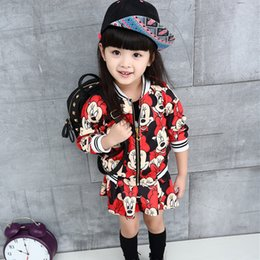 Wholesale Mini Mouse Costumes - Wholesale- 2016 New sports style fashion brand girls clothing sets Cartton mouse pattern Jackets and cute mini skirts 2pcs baby costumes