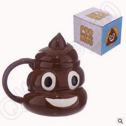 Wholesale Covered Tea Mugs - Creative Ceramic Kawaii Emoji Coffee Tea Cup Porcelain Zakka Water Cup Shit Mug Novelty Gifts Shit Mug With Cover CCA5415 24pcs
