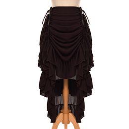 2019 trajes victorianos vintage de las mujeres Mujeres retro con volantes cosplay gasa falda Victorian Steampunk Vintage Victorian Costume S / M / L / XL 8 colores trajes victorianos vintage de las mujeres baratos