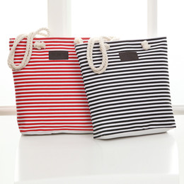 Wholesale Wholesale Canvas Bags Totes - Women Beach Canvas Bag Fashion Color Stripes Handbags Ladies Large tote handbag Totes Casual Bolsa drawstring Bags