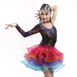 Wholesale Latin Dresses For Children - new limited sequined latin dance dress for girls children tango rumba chacha dance competition costumes flower practice dress