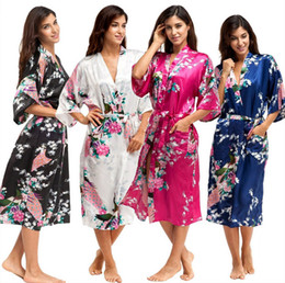 Wholesale Ladies Hot Red Night Dress - Hot Sale Satin Robe Women Sexy Kimono Knee Length V Neck Female Silk Bathrobe Half Sleeve Ladies Peignoir Floral Dressing Gown Night Dress