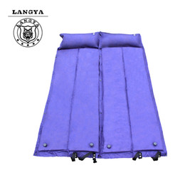 Wholesale Beach Beds - Wholesale- Outdoor Camping Mat Beach Cushions Bed Inflatable Air Mattress Sleeping Pad With Pillow Picnic Blanket Blue