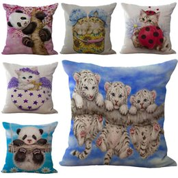 Wholesale Panda Cushion Pillow - Best Friends Little Panda Cats Tiger Pillow Case Cushion cover Linen Cotton Throw Pillowcases sofa Bed Pillowcover DROP SHIPPING